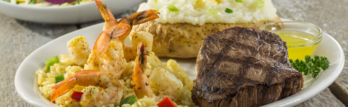 Sirloin and Grilled Shrimp